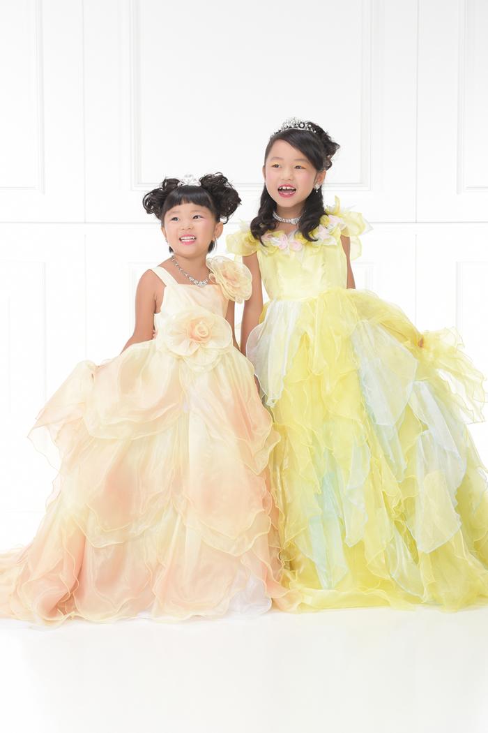 七五三3歳女の子No.18 size100-黄,5歳女の子No.16 size120-黄